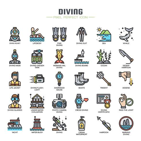 Icone di linea sottile di elementi di immersione subacquea