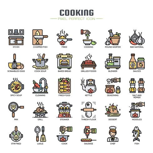 Cooking Elements Thin Line  Icons
