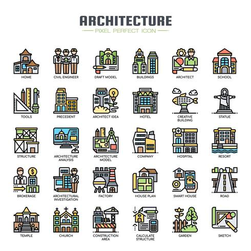 Architecture Thin Line Color Icons vector