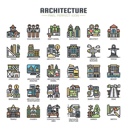 Icone di colore sottile linea di architettura vettore