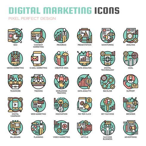 Ícones de linha fina de marketing digital