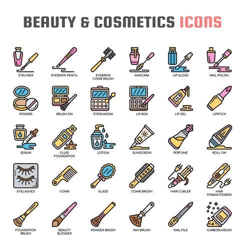 Iconos de línea fina de belleza y cosmética vector