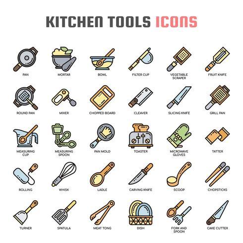 Iconos de línea fina de herramientas de cocina