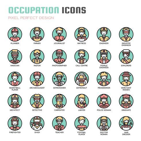 Iconos de línea fina de ocupación vector
