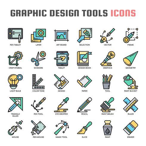 Graphic Design Tools Thin Line Icons