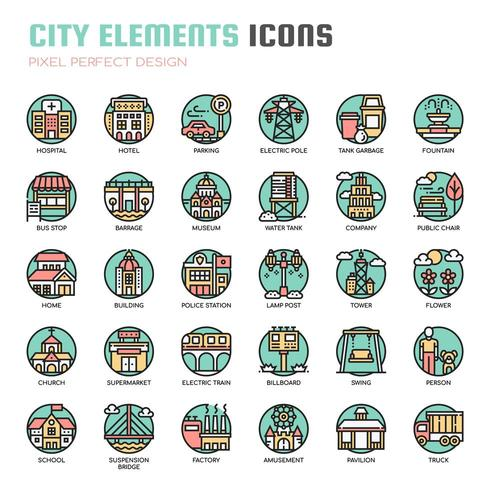 City Elements Thin Line Icons vector