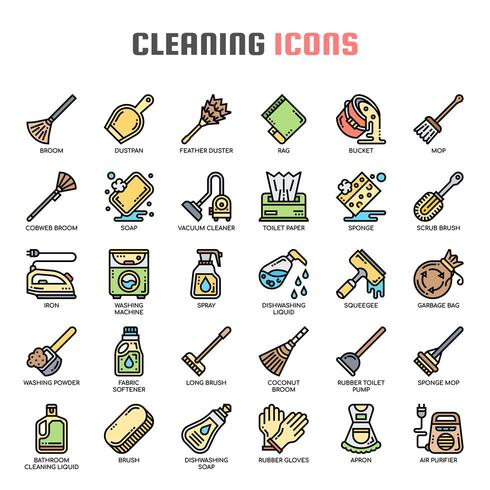 Cleaning Thin Line Icons vector