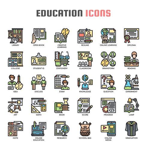 Iconos de línea delgada de educación
