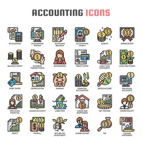 Iconos de línea fina de contabilidad