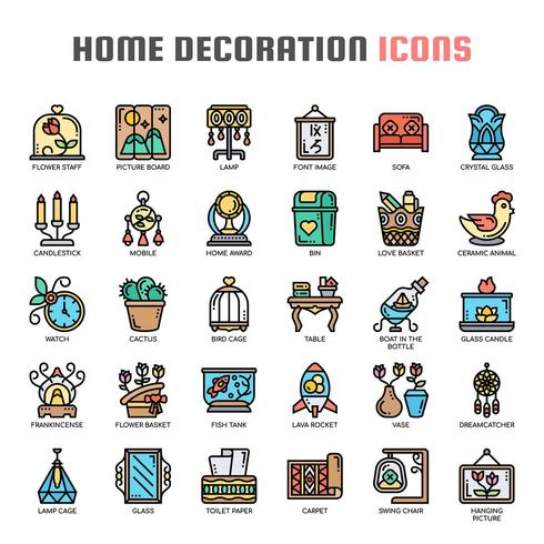 Home Decoration Thin Line Color Icons vector