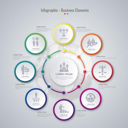 diseño colorido del elemento de infografía empresarial