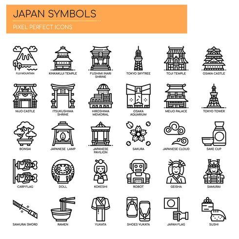Símbolos de Japón iconos de líneas finas