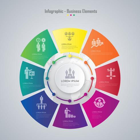 diseño de elemento de vector colorido negocio infografía