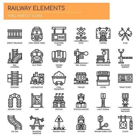Ícones de linha fina de elementos ferroviários