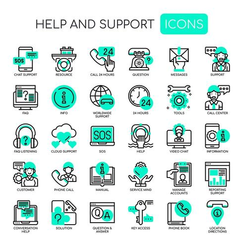 Hilfe und Support Thin Line Monochrome Icons