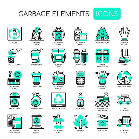 Garbage Elements Thin Line Icons Monochrome