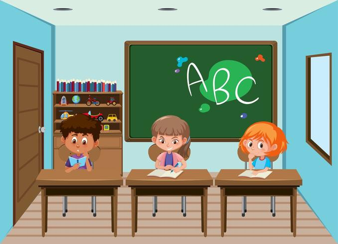 Students working at desks in the classroom vector