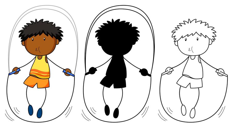 A set of boy jumping rope in color, silhouette and outline vector
