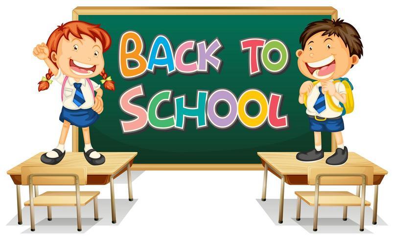 Plantilla de regreso a la escuela con estudiantes frente a la pizarra de pie sobre escritorios vector