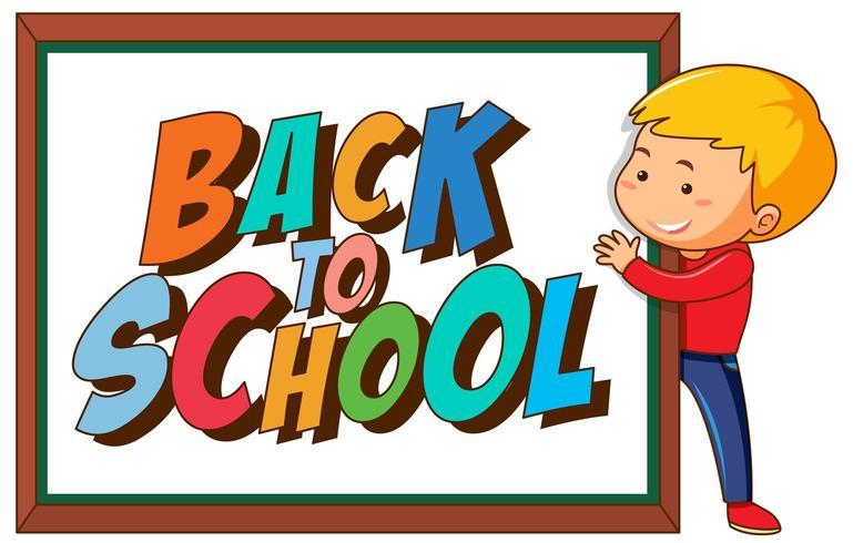 Signe de retour à l'école avec garçon