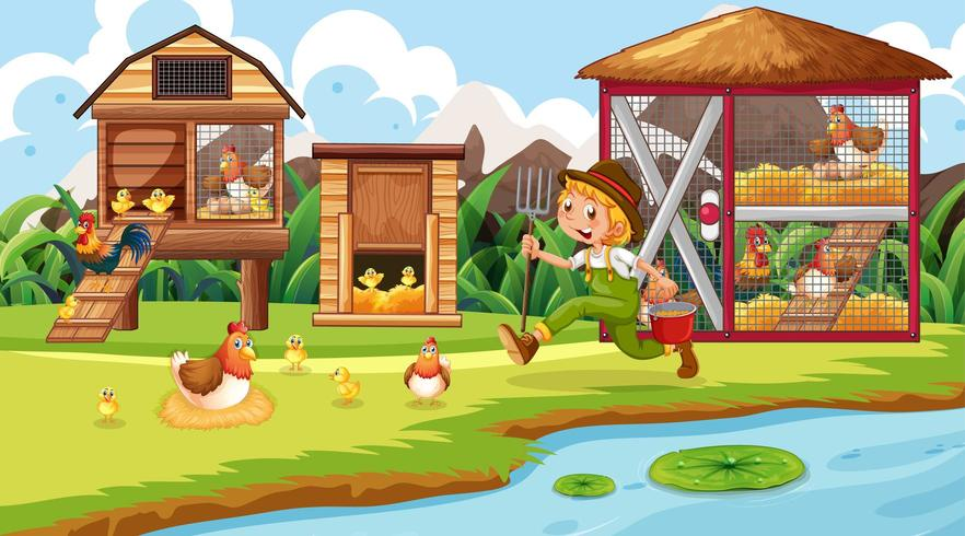Escena de granjero y pollo coupe