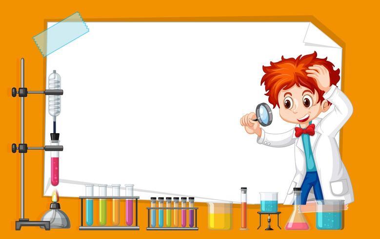 Frame sjabloonontwerp met kind in science lab