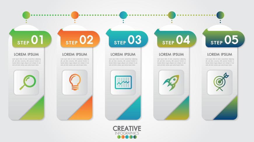 Modèle moderne d'infographie pour les entreprises en 5 étapes