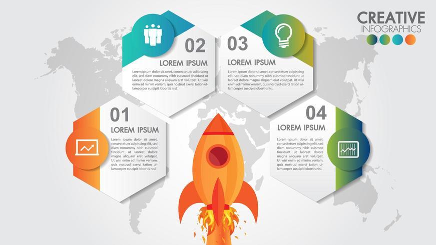 Infografia de inicialização com 4 opções de lançamento de foguete e mapa-múndi estilizado