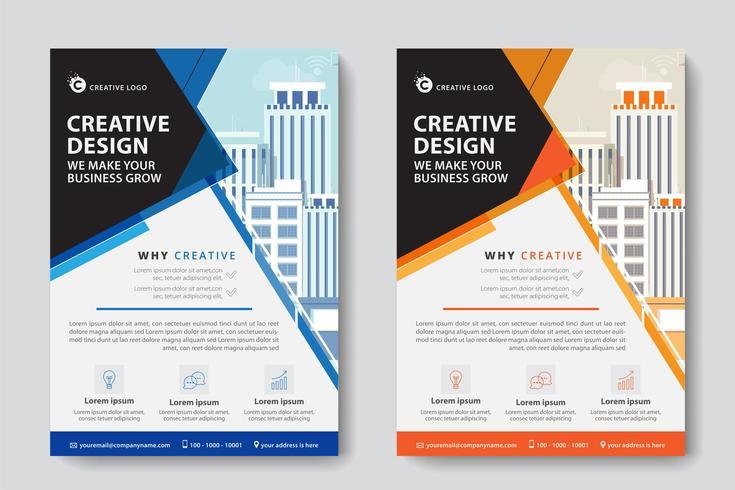Modèle d'entreprise commerciale à angles bleus et orange