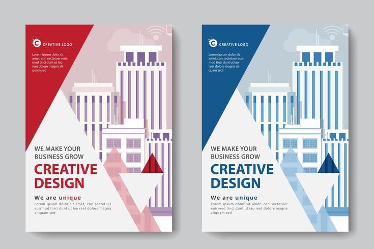 Röd och blå lagerlagd triangel företagsaffärsmall vektor