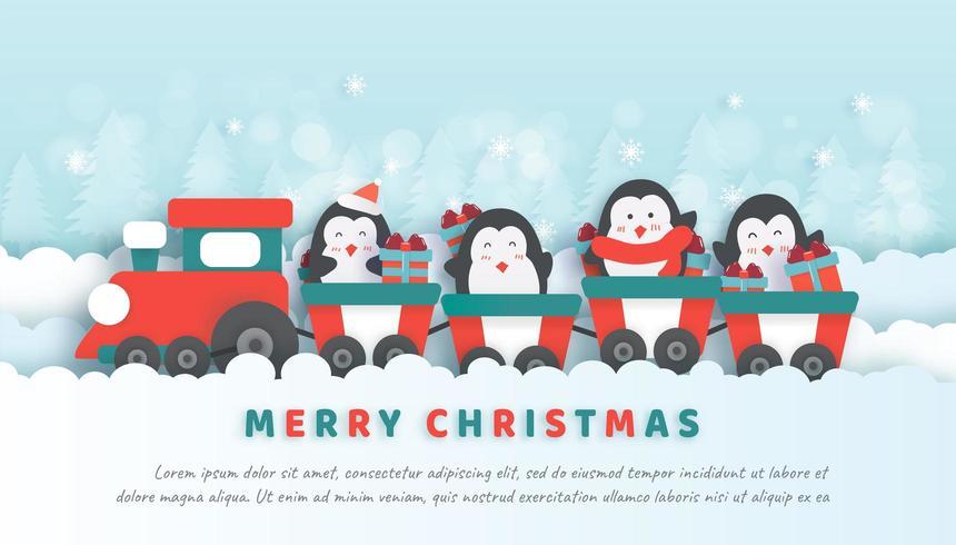 Célébrations de Noël avec de jolis pingouins installés dans le train.