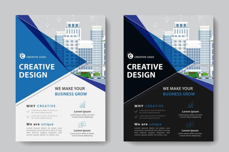 Blue Angled Cutout Corporate Business Template