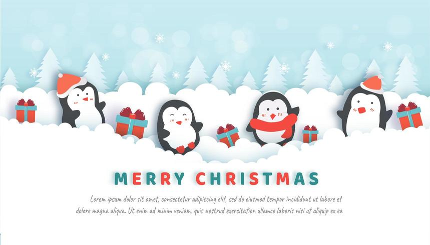 Célébrations de Noël avec des pingouins mignons dans la forêt de neige.