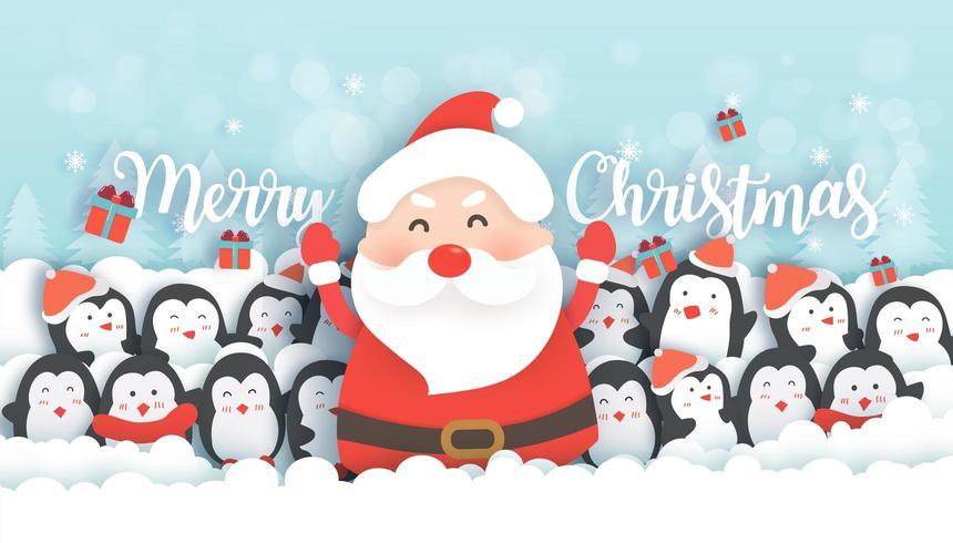 Celebraciones de Navidad con Santa y pingüinos lindos en el bosque de nieve.