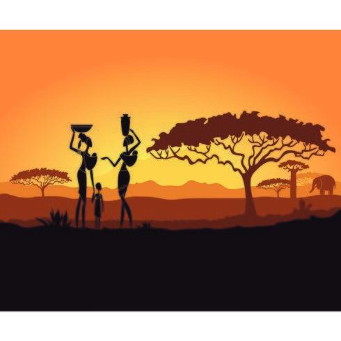 Coucher de soleil en Afrique avec femme et enfant