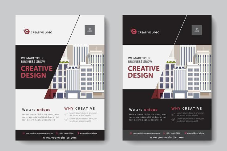 Modelo de negócios corporativos em recorte angular em preto, vermelho e branco