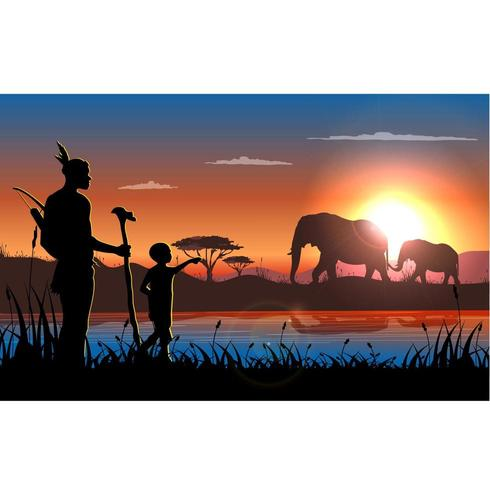 Coucher de soleil en Afrique Paysage avec homme, enfant et éléphants