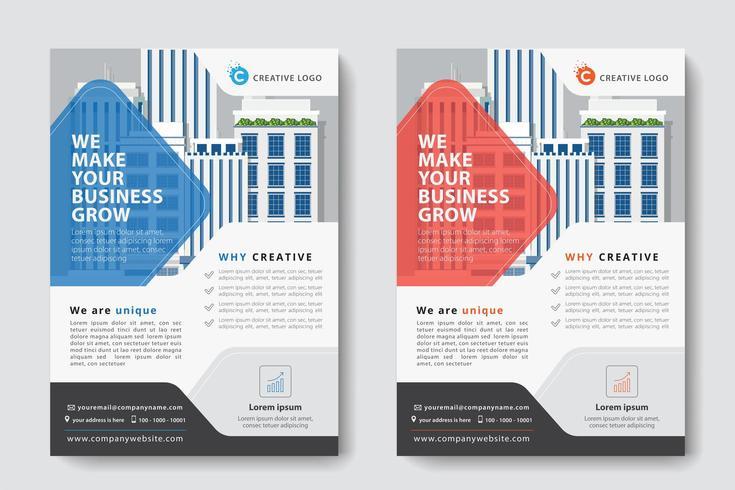 Modelo de negócios corporativos de design de diamante vermelho e azul
