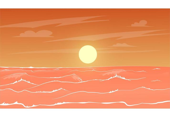 Coucher de soleil sur la mer d'orange