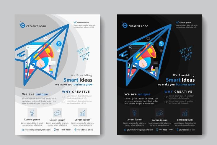 Modello di business aziendale con megafono a forma di aereo di carta