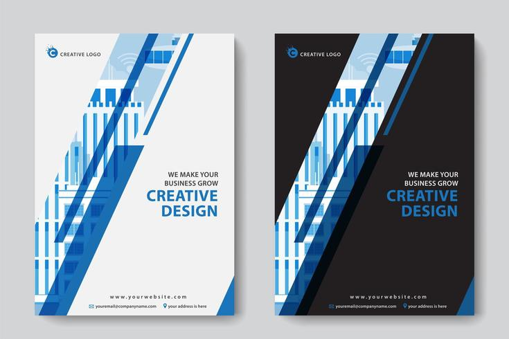 Blue Diagonal Cutout Corporate Business Template vector