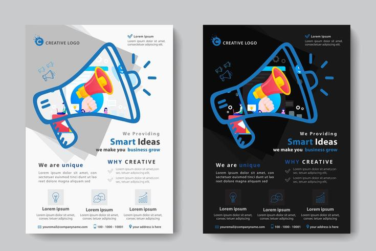 Corporate Business Template with Megaphone in Megaphone Shape