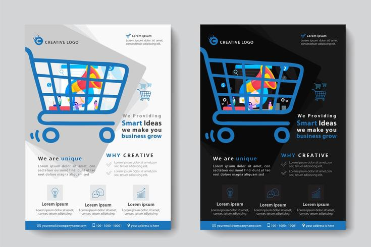 Modello di business aziendale con megafono a forma di carrello