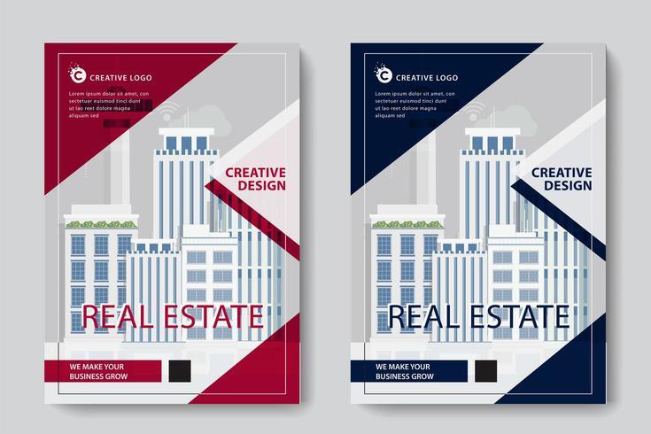 Röd och blå triangel design företags affärsmall vektor