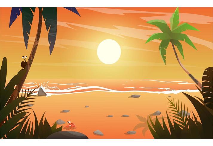 Pôr do sol sobre o mar e praia