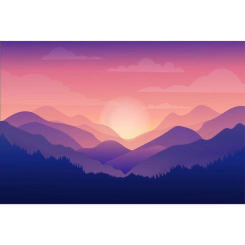Beau coucher de soleil orange dans les montagnes