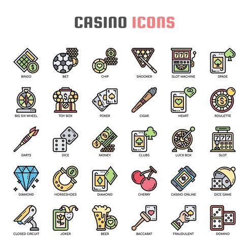 Casino dünne Linie Icons vektor