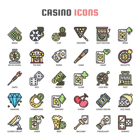 Casino Thin Line Icons