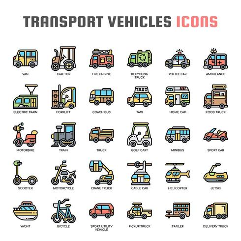 Transport Vehicles Thin Line Icons vector