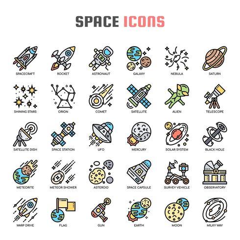 Icone di spazio sottile linea vettore